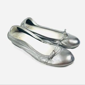 Cole Haan Nike Air silver gray leather ballet flat